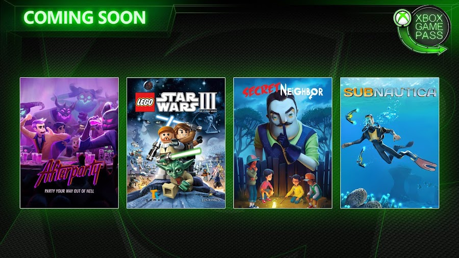 xbox game pass afterparty lego star wars 3 the clone wars secret neighbor subnautica xb1 2019