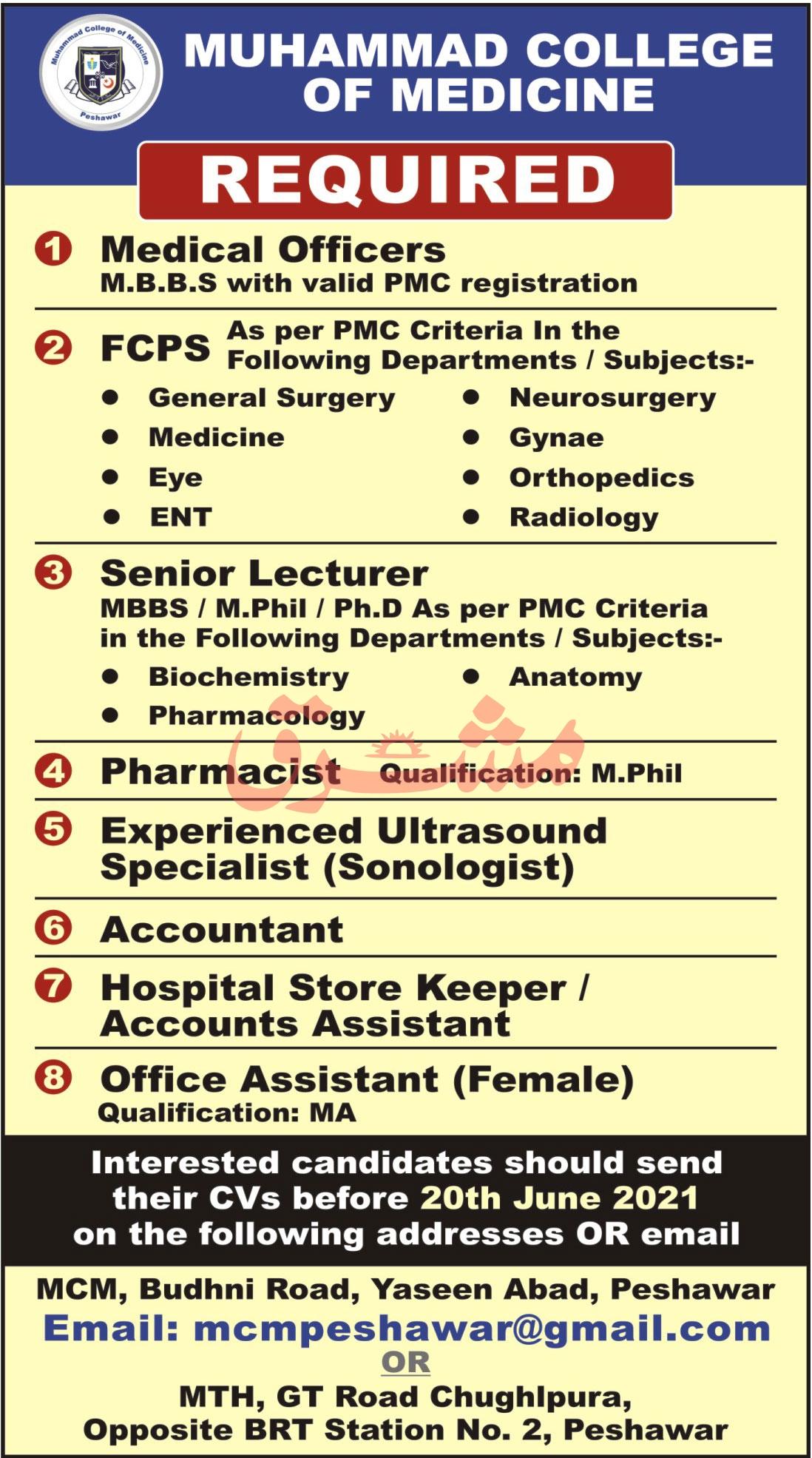 mcmpeshawar@gamil.com - Muhammad College Of Medicine Jobs 2021 in Pakistan