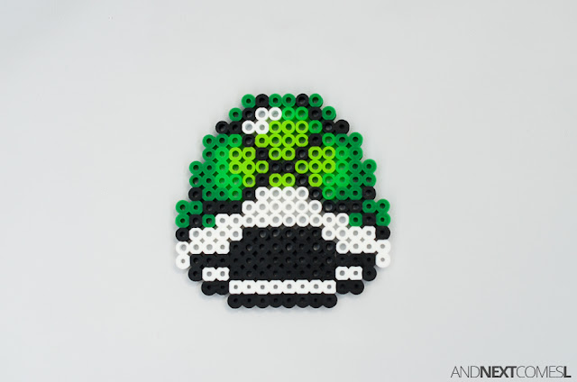 Super Mario World green shell perler bead craft from And Next Comes L