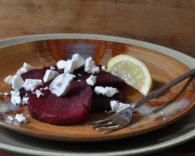Beets with Feta, another five-minute simple salad ♥ AVeggieVenture.com. Just Three Ingredients. Gluten Free. No Chopping, No Measuring.