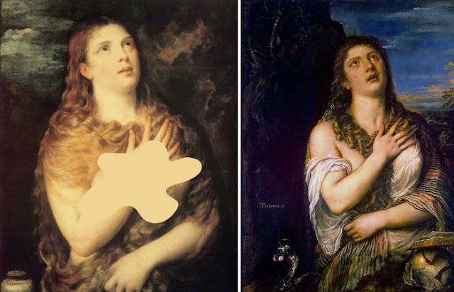 "Obras de Ticiano ""Madalena Penitente"", 1531, Palazzo Pitti, Florença / ""Madalena Penitente"", 1565, Hermitage, São Petersburgo"