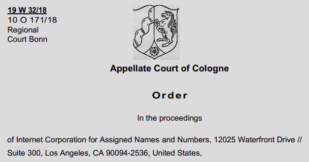 Appellate Court of Cologne Order in ICANN vs EPAG Domainservices, GmbH