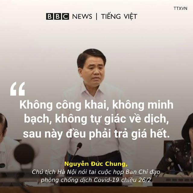 """Chủ tịch Hà Nội: """"Không công khai về dịch, sau này sẽ phải trả giá"""""""
