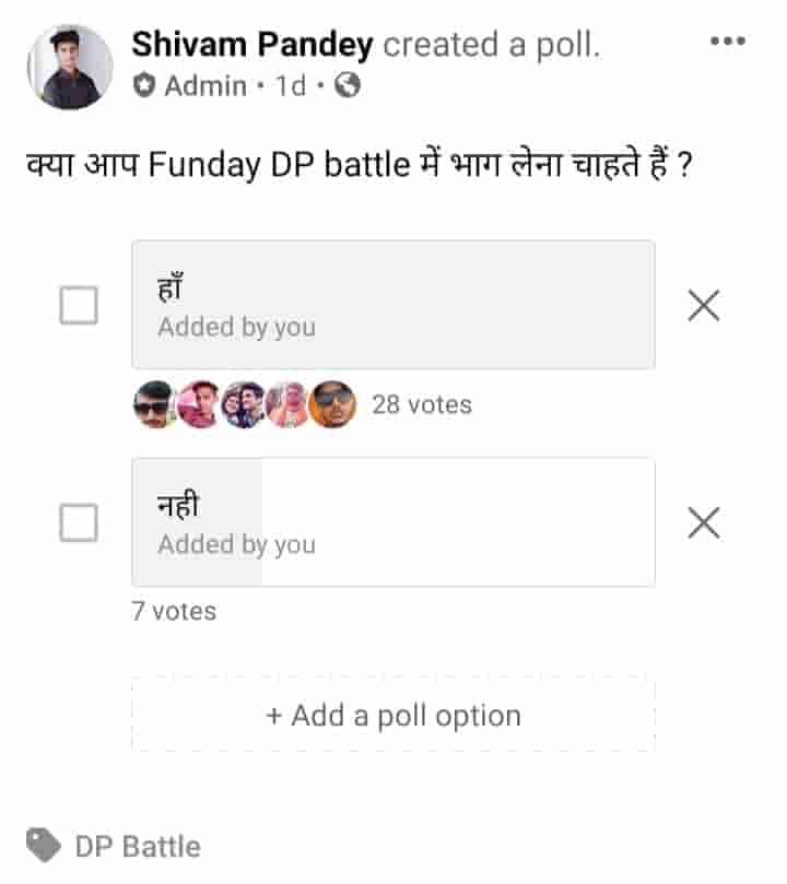 Facebook poll example