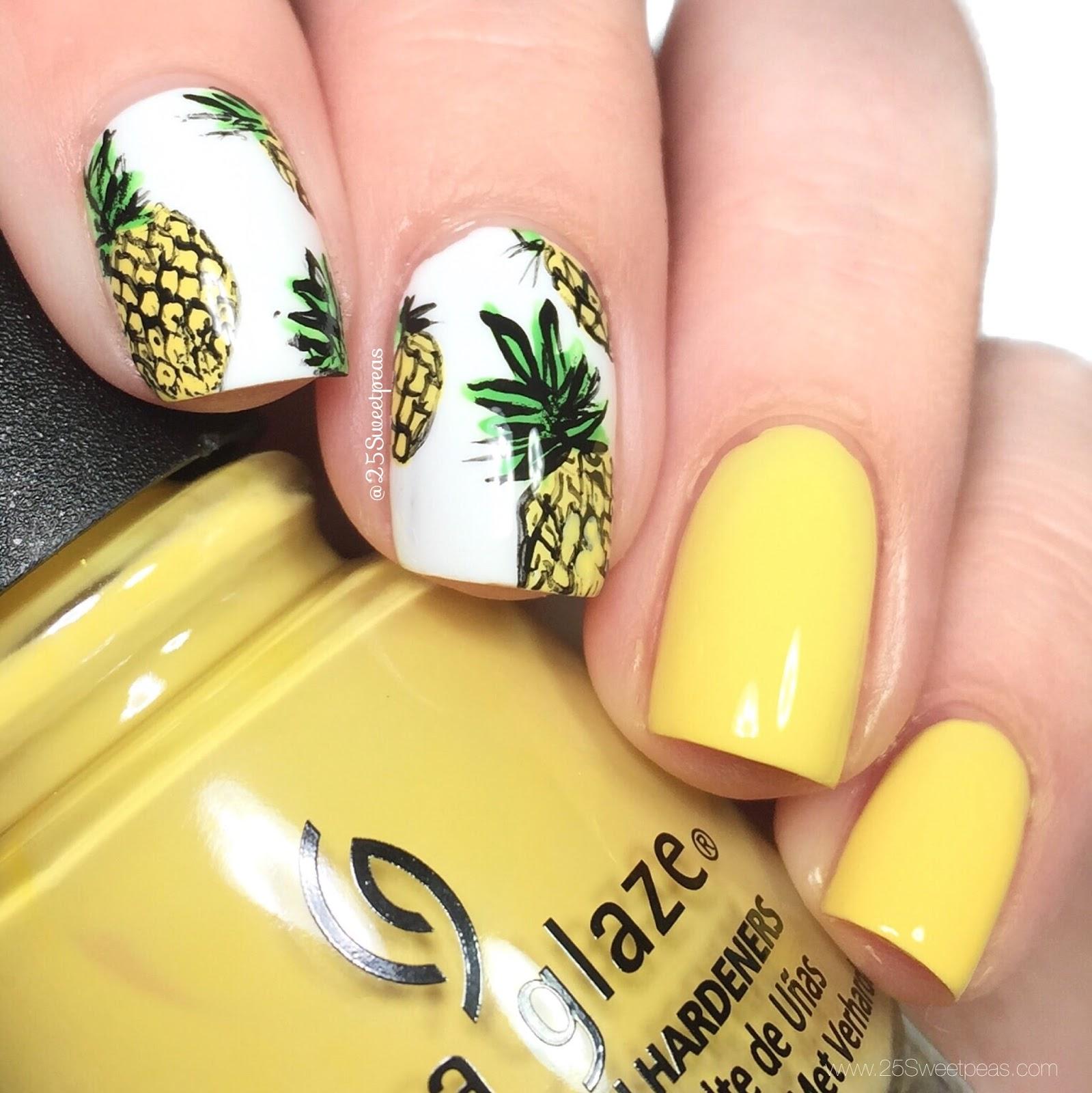 Pineapple Nail Art - Freehanded Stamped Pineapple Nail Art & Tutorial - 25 Sweetpeas