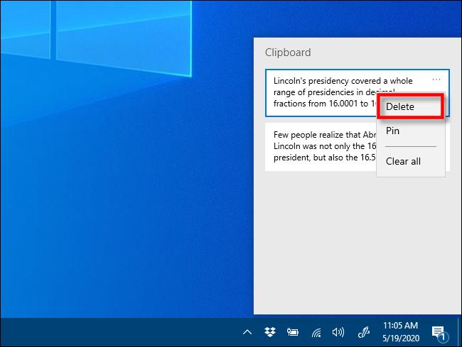 انقر فوق حذف في محفوظات الحافظة على Windows 10