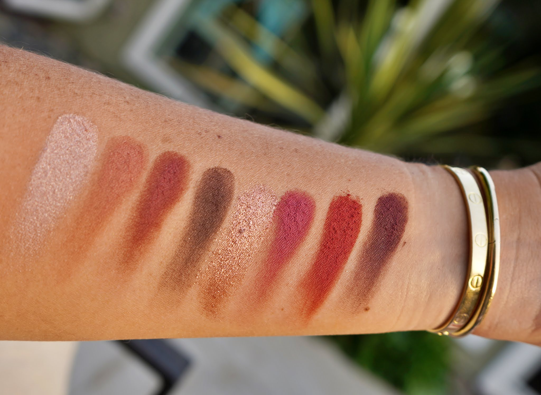 eye makeup swatch in an arm