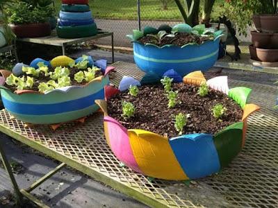 DIY Pasu Bunga Dari Rim Kereta