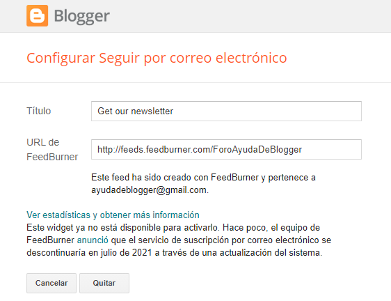 El widget FollowByEmail dejara de funcionar en julio de 2021