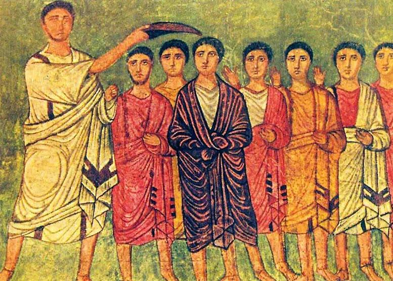 Sagração de David como rei por Samuel. David usa um manto de púrpura. Dura Europos Synagogue, Syria, siglo III (public domain)
