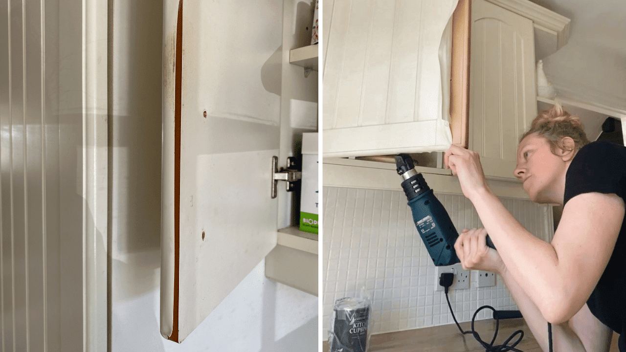 How to paint your kitchen cupboards on a budget. Remove vinyl wrap and paint an mdf kitchen using a heat gun. Kitchen makeover renovation inspiration