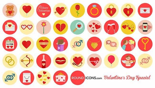 40 Free Valentine's Day Flat Icons