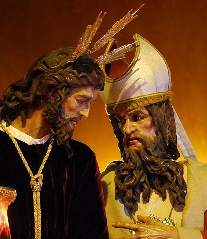 Não reconheceu seu verdadeiro Messias e procura um outro que trará sua desgraça. Cristo del Soberano Poder ante Caifás, Semana Santa, Sevilha