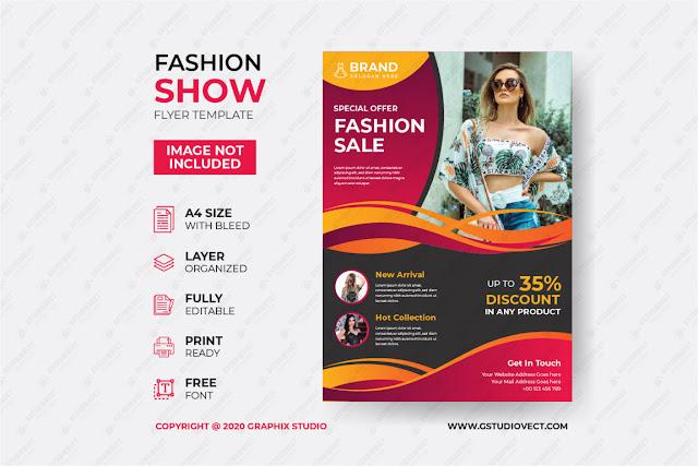 Modern dynamic fashion flyer template free download