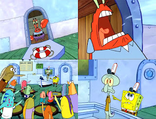 Polosan meme spongebob dan patrick 137 - tuan krab di demo pelanggan krusty krab