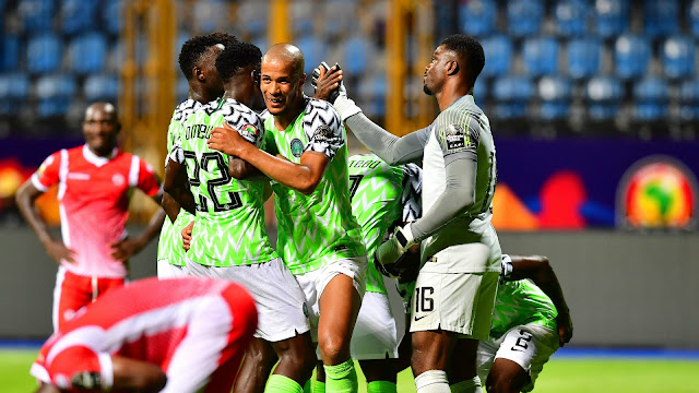 Super Eagles players celebrating a goal