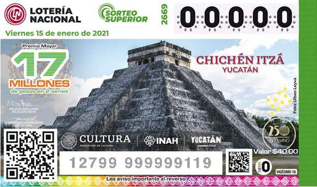 La construcción más emblemática de Chichén Itzá es El Castillo ─precisamente la que corona el billete de lotería─. Fotografía: Lotería Nacional.