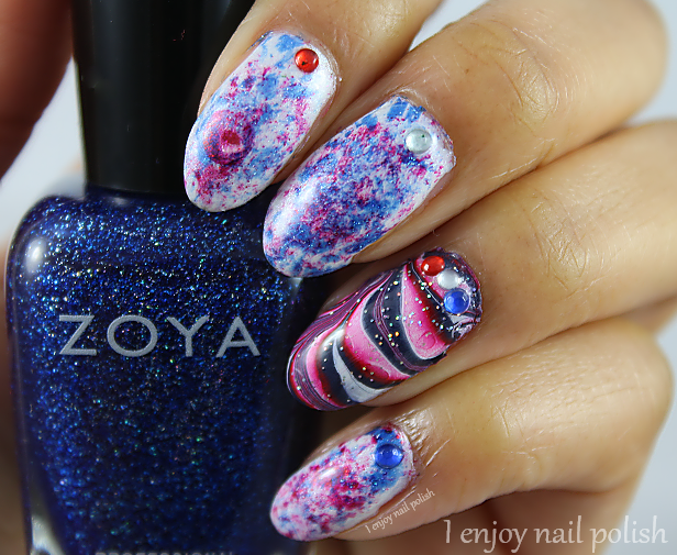 Abstract 4th Of July Nails