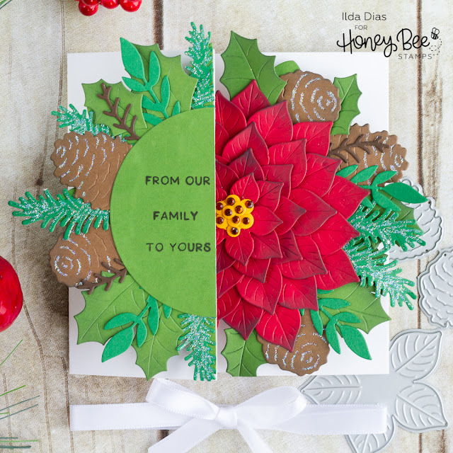 Poinsettia Petal Gatefold Christmas Card | Honey Bee Stamps by ilovedoingallthingscrafty.com