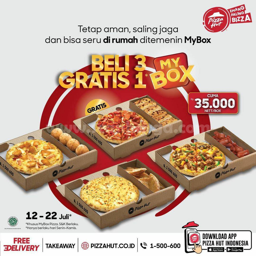 PIZZA HUT Promo Beli 3 MYBOX GRATIS 1 MYBOX harga CUMA Rp. 35.000 nett/Box