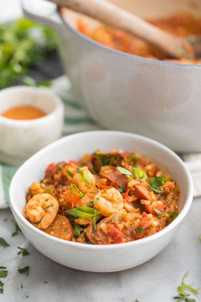 Healthy Jambalaya (Whole30, Low Carb, Paleo) - This healthy jambalaya recipe is a Whole30, paleo, low carb take on authentic Cajun food. , Easy, pretty quick, & even keto friendly, with sausage & shrimp.