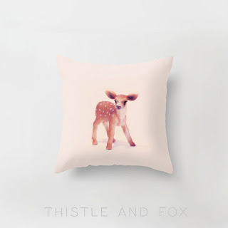 Little Fawn in Pink, Pillow Slip Cushion Cover, Forest Creature Woodland Fauna Deer | Made to Order baby girl nursery chair cushion