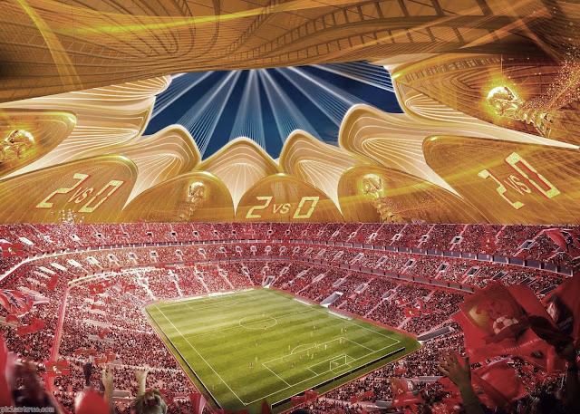 Nội thất bên trong sân vận động hình cánh sen khổng lồ