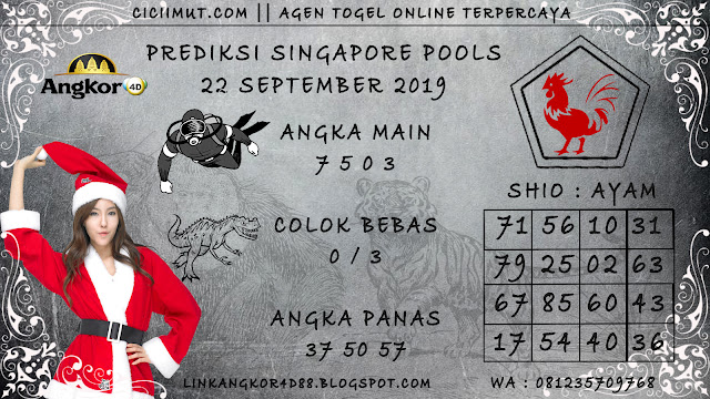 PREDIKSI SINGAPORE POOLS 22 SEPTEMBER 2019