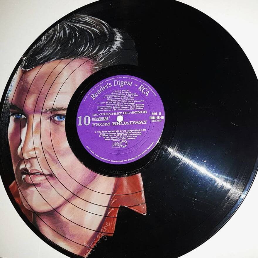 04-Elvis-Presley-Melissa-Jane-Celebrity-Portrait-Drawings-On-Used-Vinyl-Records-www-designstack-co