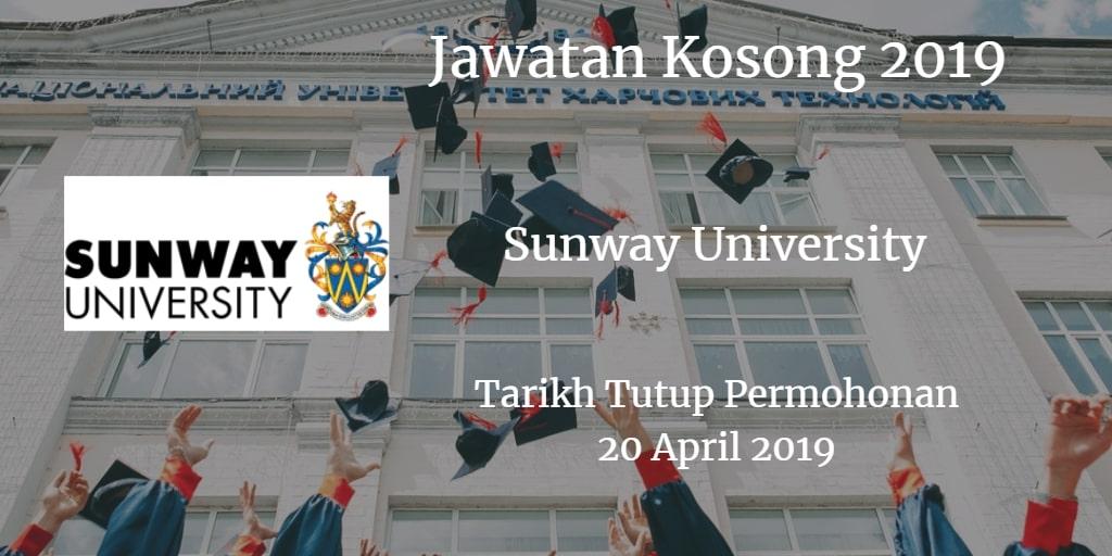 Jawatan Kosong Sunway University 20 April 2019