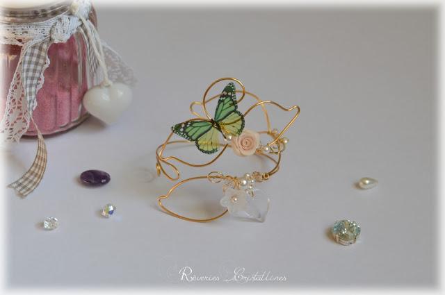 Bracelet papillon et rose