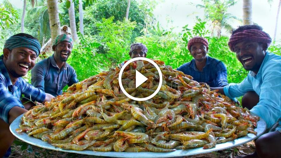 PRAWNS FRY | Crispy Shrimp Fry Recipe Cooking in Village | Tasty Fried Shrimp Seafood Recipe