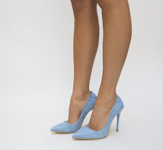 Pantofi Miona Albastri de ocazie din piel eco intoarsa cu toc inalt