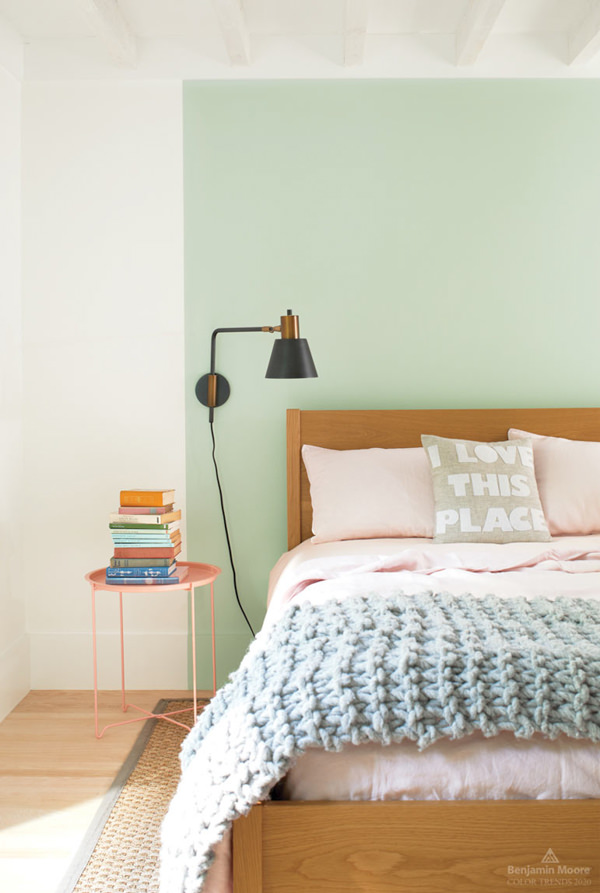 modern bedroom painted with Crystalline by Benjamin Moore