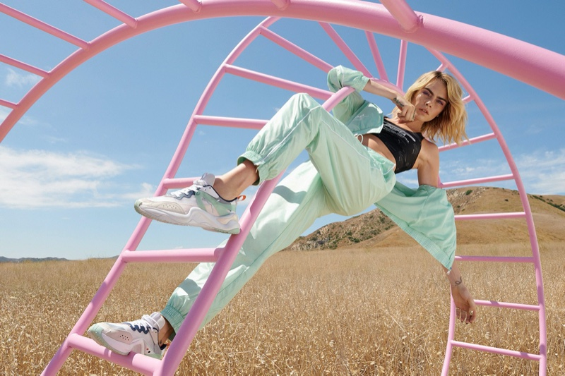Posing on a jungle gym, Cara Delevingne fronts PUMA Rise sneaker campaign