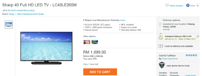 Sharp 40 Full HD LED TV, My Wish, New TV, TV Baru, TV From Lazada, Lazada Birthday Blogger Contest,