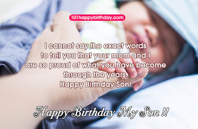 Happy Birthday wishes quotes for son and: i cannot say the exact words to tell you that your mom