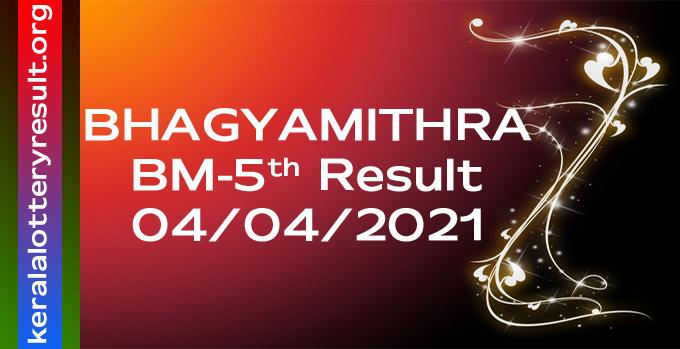 Bhagyamithra Monthly Lottery BM5 Result 4-4-2021