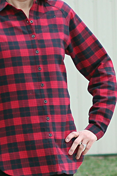 McCall's 7472 Shirt from Mood Fabrics' Red Tartan Plaid