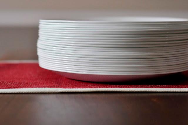 Stack of White Corelle Dinner Plates | Taste As You Go