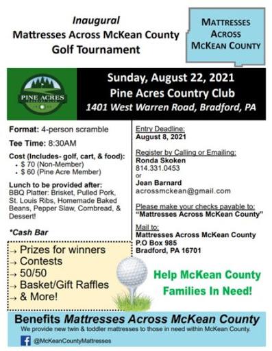 8-22 Inaugural Mattresses Across McKean County Golf Tournament