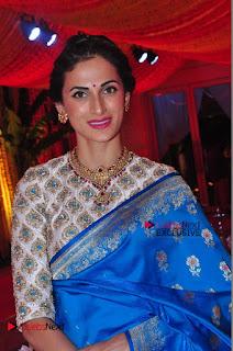 Actress Model Shilpa Reddy Exclusive Stills in Blue Saree at Vijay Karan Aashna Wedding  0045.JPG