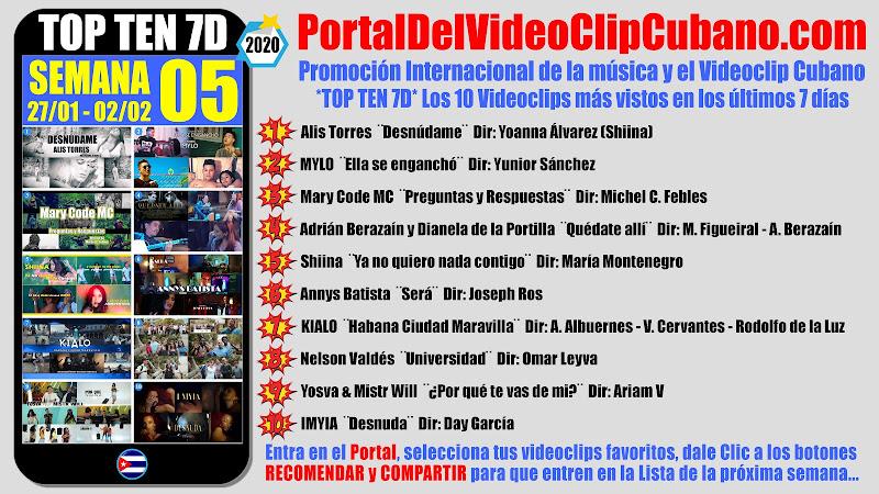 Artistas ganadores del * TOP TEN 7D * con los 10 Videoclips más vistos en la semana 05 (27/01 a 02/02 de 2020) en el Portal Del Vídeo Clip Cubano