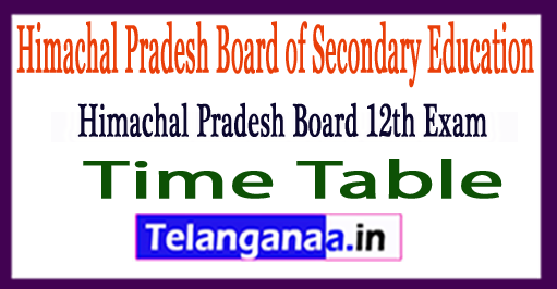HPBOSE 12th Exam Time Table 2018