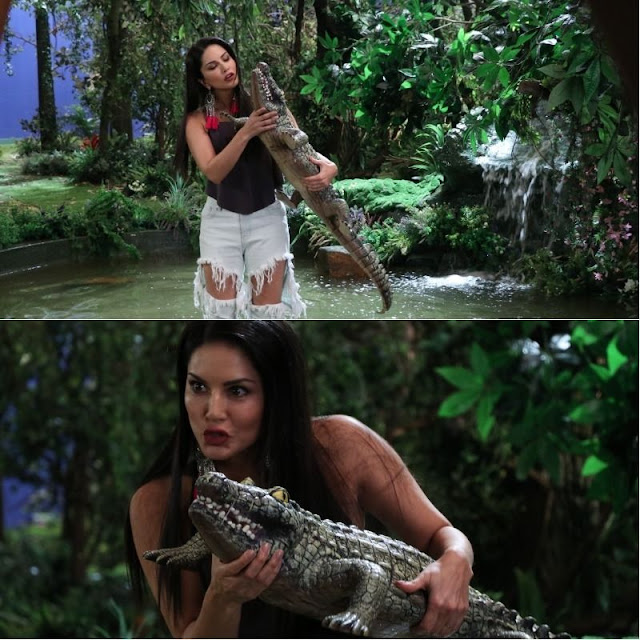 Sunny Leone with Fake Crocodile Photos in jungle