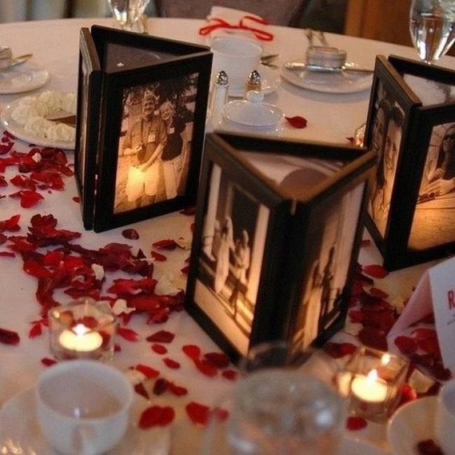 centros de mesa con fotos para bodas
