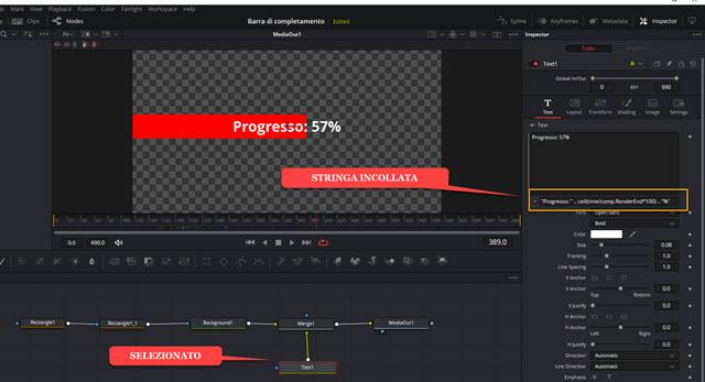 visualizzare percentuale avanzamento barra
