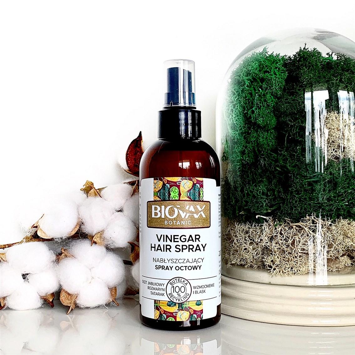 L'Biotica Biovax Botanic Ocet Jabłkowy i Rozmaryn Nabłyszczający spray octowy
