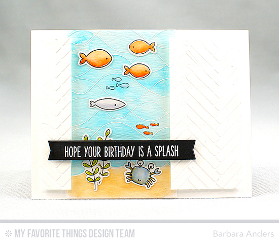 Handmade card from Barbara Anders featuring Soak up the Fun stamp set and Die-namics, Whimsical Waves Background stamp, Blueprints 27 Die-namics, and Herringbone Bricks stencil #mftstamps