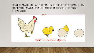 Soal Kelas 3 Tema 1 Subtema 3 Pertumbuhan dan perkembangan Makluk Hidup K.13 Edisi Revisi 2018